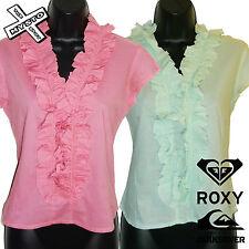 "QUIKSILVER ROXY ""groove ARMADA"" femme capped chemise à manches rose vert ru 10 bnwt"