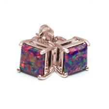 Dragons Eye Opal 2.5ct Princess cut Solitaire 9ct Gold Stud Earrings (OP76)