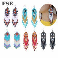Multi Seed Beads Woven Long Dangle Earrings Bohemian Beads Drop Earrings Women