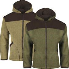 New Mens Tweed Jacket Hoodie Hooded Coat Zip Up Wool Hoody Casual Waterproof Top