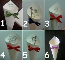 100 coni borsette portariso a rilievo petali matrimoni SCEGLIETE VOI IL FIOCCO
