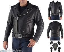 Premium Mens Brando Motorcycle Leather Jacket A+ Cowhide CE Armour Cruiser Biker
