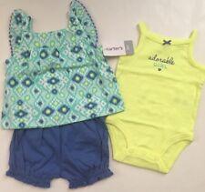 Carter's Girl Geo Tank Top Bodysuit Bubble Shorts Size 3 6 Months Blue Green