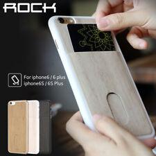 For Apple iPhone 6S 6 Plus Slim Bumper Wood Grain PU Card Slot Case Cover
