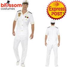 CA418 Mens White Sailor Captain Costume Navy Officer Uniform Sea Marine Outfit