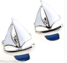 PAIR YACHT SAILING BOAT KEEL CUFFLINKS SHIRT SAIL SHIP SAILS SAILOR BLUE WHITE