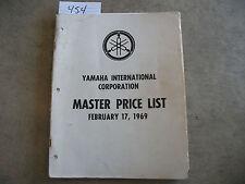 1969 YAMAHA Master Price List Manual