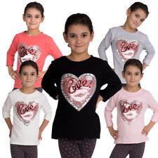 4745 Mignon enfants shirt à manches longues wisch-pailletten Cœur Love fille