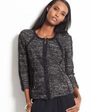 Ann Taylor 3/4 Raglan Sleeve Modern Tipped Zip Tweed Jacket XS M NWT NWT