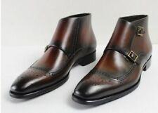 handmade Men wingtip brogue double monk Chukka boots, New Men leather boots