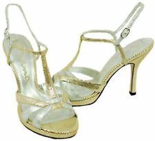 Nina Gaticus Womens Platino Leather Open Toe Slingback High Heels