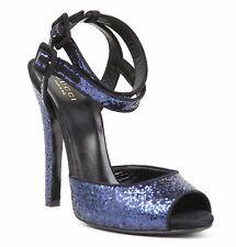 New Gucci Blue Sparkling Glitter Suede Ankle Strap Heel Sandal 353774 4172
