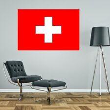 SWITZERLAND SWISS FLAG GIANT WALL STICKER decal car art vinyl 5 sizes GRAPHIC