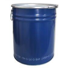 Fût métalique ouverture totale Bleu 30 L avec couvercle et bague (23020)