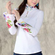 Chinese Vintage Embroidery Shirt Lady Mandarin Collar Flare Sleeve Blouse White