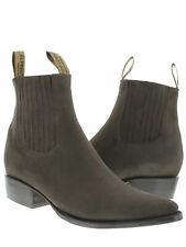 mens dark brown nubuck leather western cowboy ankle dress boots vaquero j toe