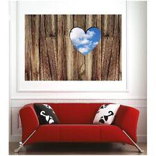 Affiche poster coeur sur bois 62342320