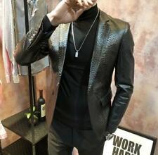 Mens Formal faux  Leather Jacket black Blazer Coat Alligator Pattern coat