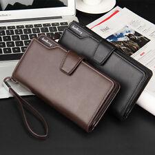 Genuine Leather Men's Long Zipper ID Card Holder Clutch Wallet Business Purse US