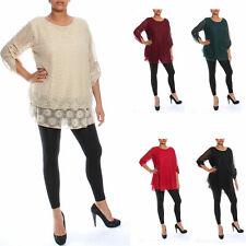 Ladies New Plus Size Floral Pattern Lace Dresses Top Womens Lined 3/4 Crochet