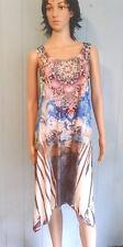 JOSTAR Irregular Hem SHARK Bite DRESS Hippie Boho Floral Embellished S, M, L, XL