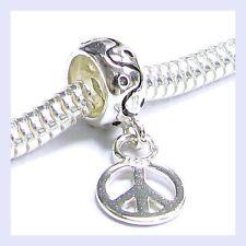STR Silver Peace Sign Round Dangle Dot Curve Bead for European Charm Bracelet