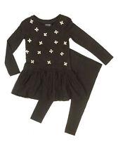 Next Girls Embellished Bodice Mesh Overlay Black Dress & legging set Ages 3,4,6