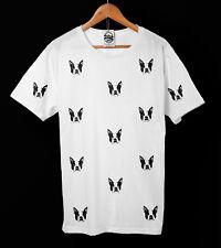 Boston Terrier T-Shirt-Indie-Perro - patrón de la vendimia-Ropa Unisex Pico