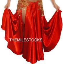 TMS Red Satin Slit Full Circle Skirt Belly Dance Tribal