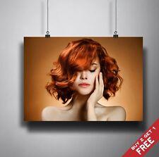 Breve Ondulata Capelli Poster A3 A4 * CHESTNUT Marrone Rame HAIRSTYLE Parrucchiere Salone