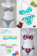 NEW Bandeau Twisted Tube 2Pc Bikini Naval Blue Stripes Polka Dot Checks Pastel