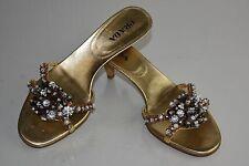 $1395 NEW Prada Jeweled 3 D CRYSTALS Slides Sandals Gold Kitten Heels 37.5