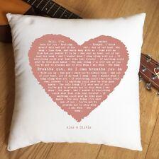 Foo Fighters Everlong Lyrics Heart Cushion - 2nd Anniversary Wedding Valentines