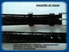 BRACELET MONTRE CUIR ÉTANCHE WATERPROOF vert 12mm RÉSISTE A L'EAU   REF; 5629