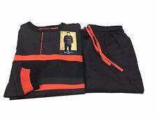 GUASCH pigiama uomo felpato antracite/nero/arancio 100% cotone