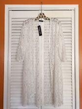 XL/1X/2X/3X New Pristine White Long Floral Lace Duster Topper Cardigan KIMONO