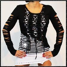 Punky Langarm Riss Shirt Schwarz-Weiss tomline sterne Streifen Totenkopf gothic