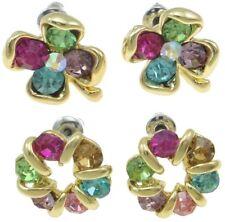 Wholesale Bulk Lot 8 Pair Stud Earrings Colored Rhinestone Gold Plate Retro VTG