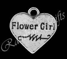 TIBETAN SILVER RHINESTONE FLOWER GIRL #1 WEDDING CHARMS SILVER HEART PENDANT