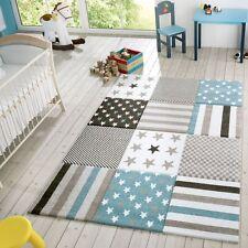 Kinder Teppich Moderner Spielteppich Kariert Sterne Pastell Töne In Blau Creme
