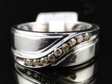 Mens White Gold Finish Cognac Diamond Wedding Band Ring .25 Ct