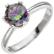 Damen Ring 925 Sterling Silber 1 Zirkonia multicolor Silberring Gr: 54 bis 64