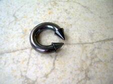 "4g 1/2"" Circular Barbell Horseshoe Black Titanium 8X7 MM Spike External Thread Z"