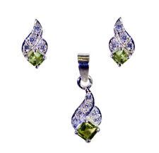 National Gem of Egypt 925 Sterling Green Pendant Set gift for Happiness&Good UK