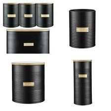Black Storage Tins Bread Bin Tea Coffee Sugar Canisters Utensils Pasta ASSORTED
