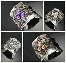 Gorgeous Antique Silver Tone Metal Flower Shape  Pearl Crystal Cuff Bracelets