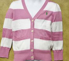 Ralph Lauren Toddler Sweater Cotton Striped V Neck Cardigan Pink White 3T NEW