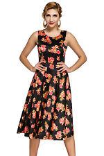 New Classy Ladies Black Digital Floral Vintage Swing Dress size 8 10 12 14 UK