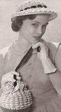Vintage Crochet PATTERN Brim Hat Drawstring Bag 40 50