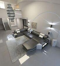 Leather Sofa Interior Design Luxury Sofa Sofa Set Presto U-Shaped LED Lighting